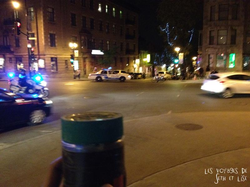 blog pvt tour du monde voyage whv montreal canada police flic manifestation geocaching geocache suppositoire
