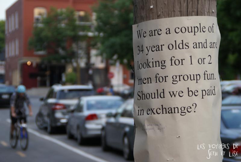 blog voyage canada montreal pvt photo insolite flyer affiche drole message streetart art couple group sex echangisme